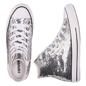 Silver Sequin Converse All Stars High Tops